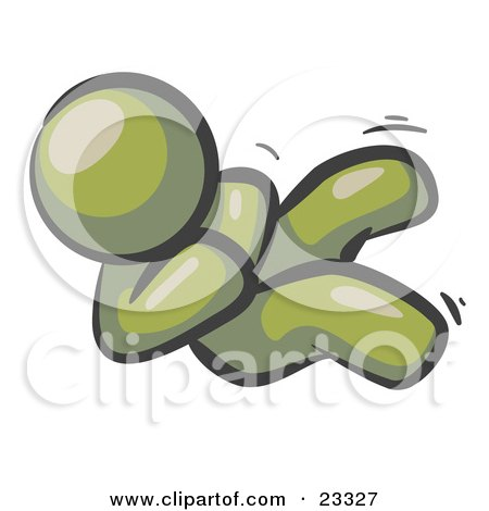 Clipart Illustration of a Happy Olive Green Man Rolling On The Floor And Giggling With Laughter by Leo Blanchette