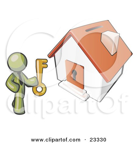Clipart Illustration of an Olive Green Businessman Holding A Skeleton Key And Standing In Front Of A House With A Coin Slot And Keyhole by Leo Blanchette