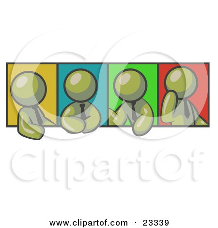 Clipart Illustration of Four Olive Green Men In Different Poses Against Colorful Backgrounds, Perhaps During A Meeting by Leo Blanchette