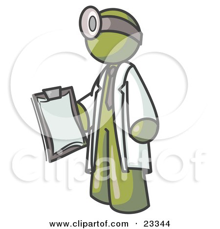 Olive Green Male Doctor Holding a Clipboard And Wearing a Head Lamp Posters, Art Prints