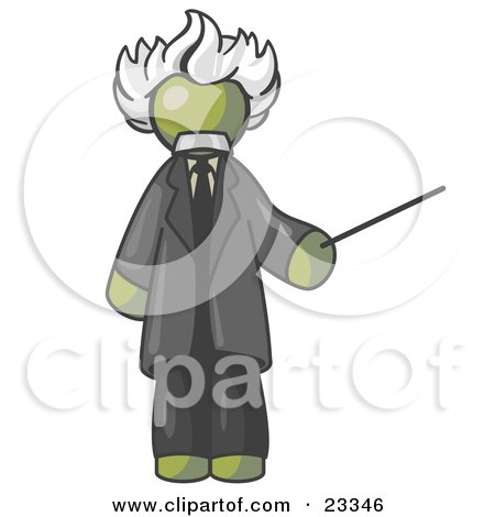 Clipart Illustration of an Olive Green Man Depicted as Albert Einstein Holding a Pointer Stick by Leo Blanchette