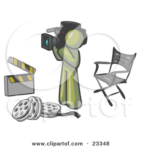 Clipart Illustration of an Olive Green Man Filming a Movie Scene With a Video Camera in a Studio by Leo Blanchette