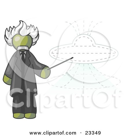 Clipart Illustration of an Olive Green Einstein Man Pointing a Stick at a Presentation of a Flying Saucer by Leo Blanchette