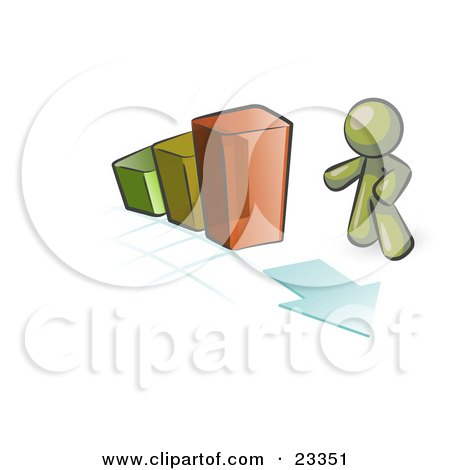 Clipart Illustration of an Olive Green Man Standing By An Increasing Green, Yellow And Orange Bar Graph On A Grid Background With An Arrow by Leo Blanchette