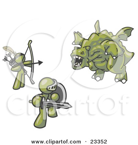 Clipart Illustration of Two Olive Green Men Working Together to Conquer an Obstacle, a Dragon by Leo Blanchette