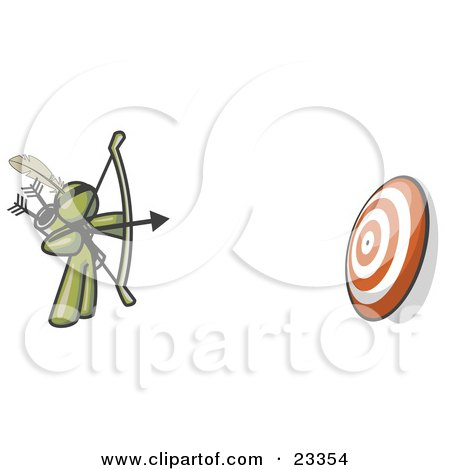 Clipart Illustration of an Olive Green Man Aiming a Bow and Arrow at a Target During Archery Practice by Leo Blanchette