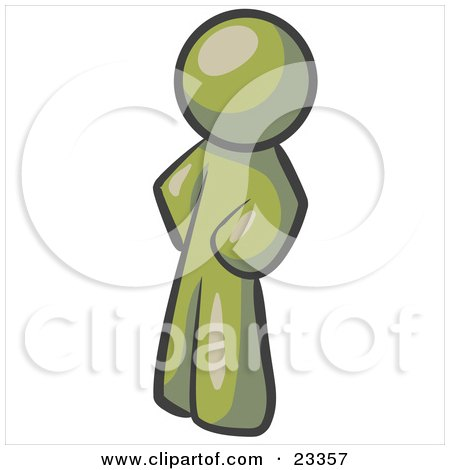 Clipart Illustration of an Olive Green Man Standing With His Hands on His Hips by Leo Blanchette