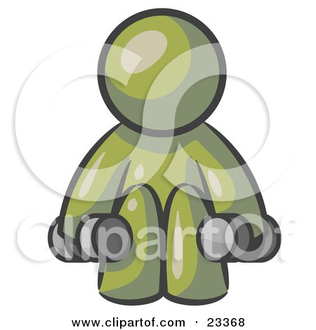 Clipart Illustration of an Olive Green Man Lifting Dumbells While Strength Training by Leo Blanchette