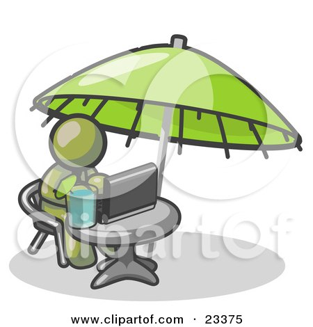 Clipart Illustration of a Traveling Olive Green Business Man Sitting Under an Umbrella at a Table Using a Laptop Computer  by Leo Blanchette