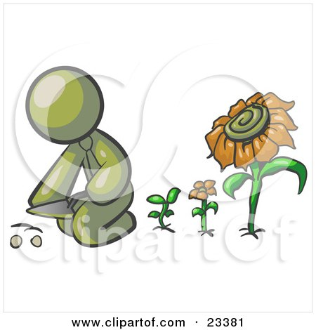 Clipart Illustration of an Olive Green Man Kneeling By Growing Sunflowers To Plant Seeds In A Dirt Hole In A Garden by Leo Blanchette