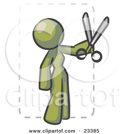 Clipart Illustration of an Olive Green Lady Character Snipping Out A Coupon With A Pair Of Scissors Before Going Shopping by Leo Blanchette