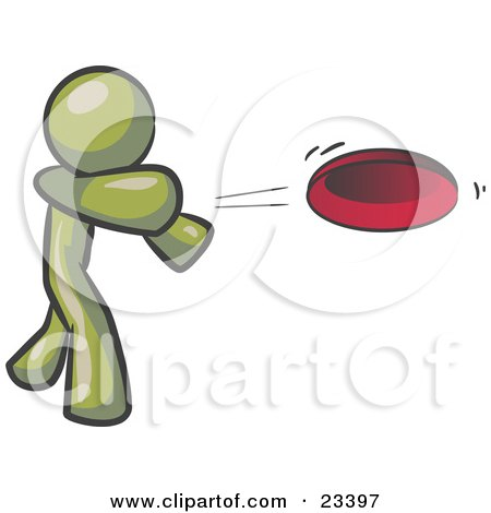 Clipart Illustration of an Olive Green Man Tossing A Red Flying Disc Through The Air For Someone To Catch by Leo Blanchette