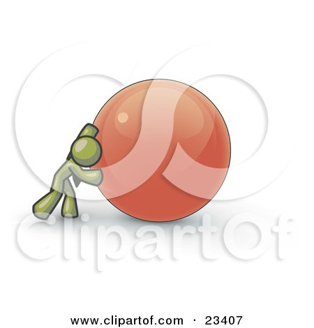 Clipart Illustration of a Strong Olive Green Business Man Pushing an Orange Sphere  by Leo Blanchette