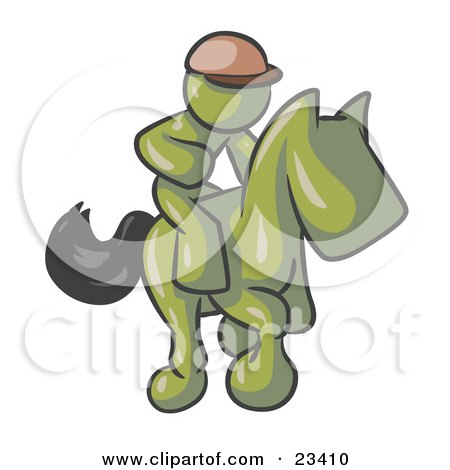 Clipart Illustration of an Olive Green Man, A Jockey, Riding On A Race Horse And Racing In A Derby by Leo Blanchette