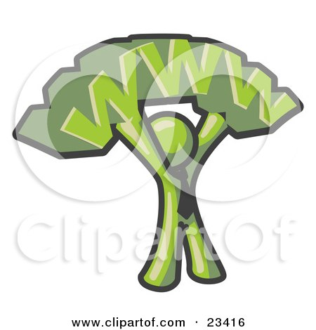 Clipart Illustration of a Proud Olive Green Business Man Holding WWW Over His Head  by Leo Blanchette