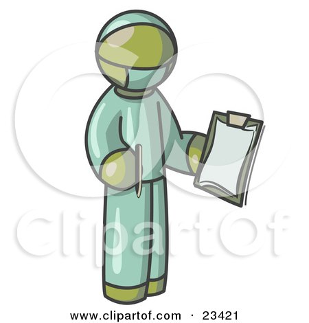 Olive Green Surgeon Man in Green Scrubs, Holding a Pen and Clipboard Posters, Art Prints
