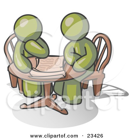 Clipart Illustration of Two Olive Green Businessmen Sitting at a Table, Discussing Papers by Leo Blanchette