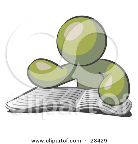 Clipart Illustration of an Olive Green Man Character Seated And Reading The Daily Newspaper To Brush Up On Current Events by Leo Blanchette