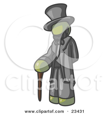 Clipart Illustration of an Olive Green Man Depicting Abraham Lincoln With a Cane by Leo Blanchette