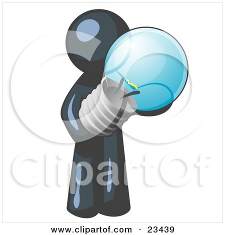 Clipart Illustration of a Navy Blue Man Holding A Glass Electric Lightbulb, Symbolizing Utilities Or Ideas by Leo Blanchette
