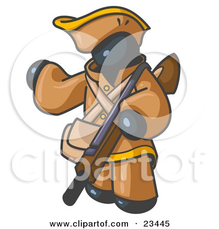 Clipart Illustration of a Navy Blue Man in Hunting Gear, Carrying a Rifle by Leo Blanchette