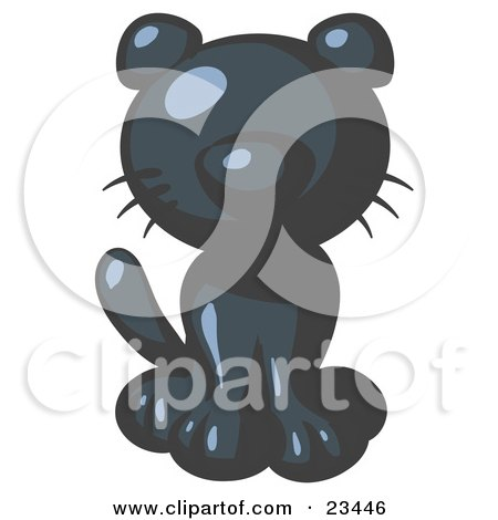 Clipart Illustration of a Cute Navy Blue Kitty Cat Looking Curiously at the Viewer by Leo Blanchette
