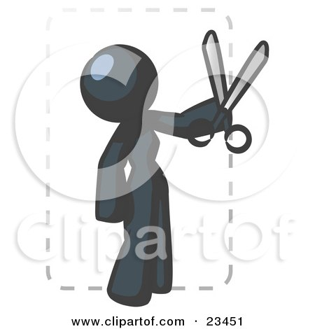 Clipart Illustration of a Navy Blue Lady Character Snipping Out A Coupon With A Pair Of Scissors Before Going Shopping by Leo Blanchette