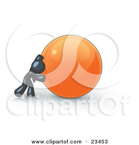 Clipart Illustration of a Strong Navy Blue Business Man Pushing an Orange Sphere  by Leo Blanchette