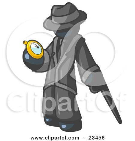 Clipart Illustration of a Navy Blue Businessman Checking His Pocket Watch by Leo Blanchette