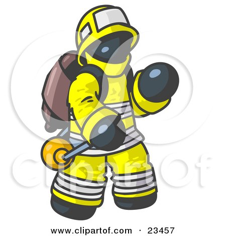 Clipart Illustration of a Navy Blue Fireman in a Uniform, Fighting a Fire by Leo Blanchette