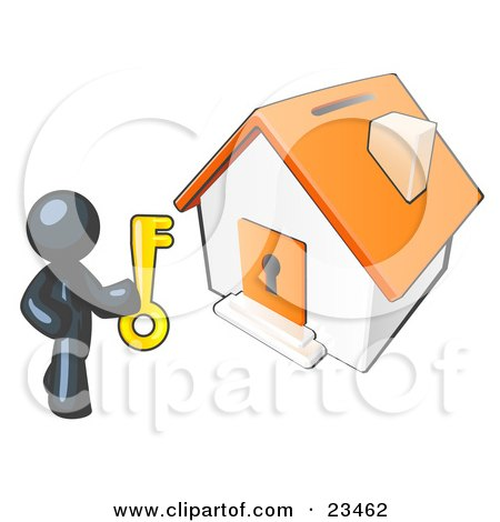 Clipart Illustration of a Navy Blue Businessman Holding A Skeleton Key And Standing In Front Of A House With A Coin Slot And Keyhole by Leo Blanchette