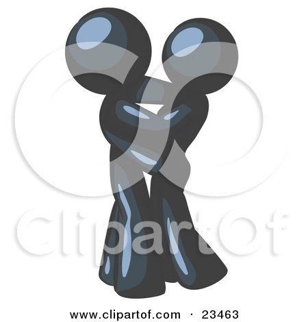 Clipart Illustration of a Navy Blue Man Gently Embracing His Lover, Symbolizing Marriage And Commitment by Leo Blanchette