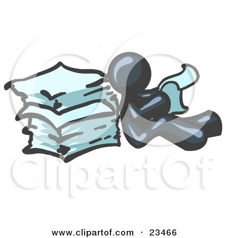 Clipart Illustration of a Navy Blue Man Leaning Against a Stack of Papers by Leo Blanchette