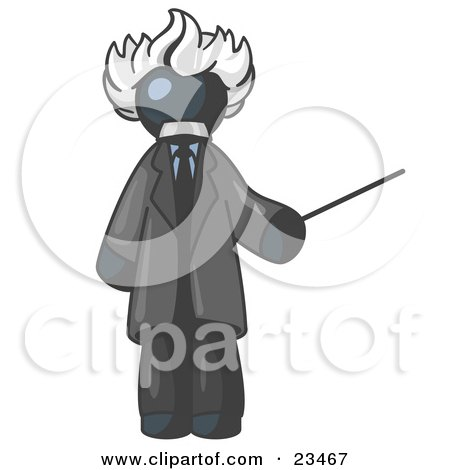 Clipart Illustration of a Navy Blue Man Depicted as Albert Einstein Holding a Pointer Stick by Leo Blanchette