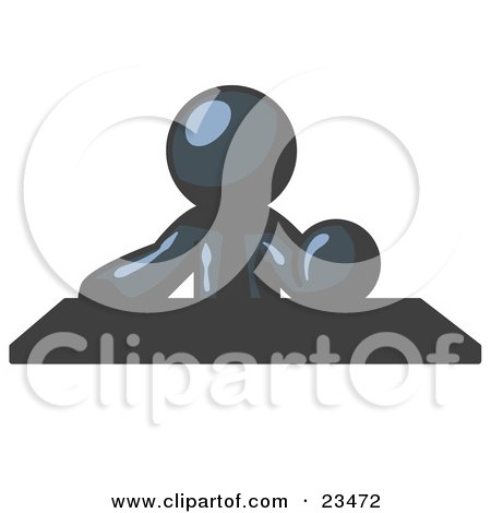 Clipart Illustration of a Navy Blue Businessman Seated at a Desk During a Meeting by Leo Blanchette