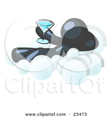 Clipart Illustration of a Relaxed Navy Blue Man Drinking A Martini And Kicking Back On Cloud Nine by Leo Blanchette