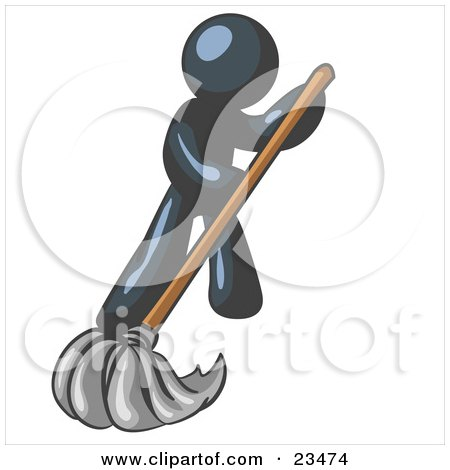 Clipart Illustration of a Navy Blue Man Wearing A Tie, Using A Mop While Mopping A Hard Floor To Clean Up A Mess Or Spill by Leo Blanchette