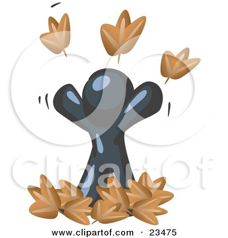 Clipart Illustration of a Carefree Navy Blue Man Tossing Up Autumn Leaves In The Air, Symbolizing Happiness And Freedom by Leo Blanchette