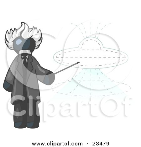 Clipart Illustration of a Navy Blue Einstein Man Pointing a Stick at a Presentation of a Flying Saucer by Leo Blanchette