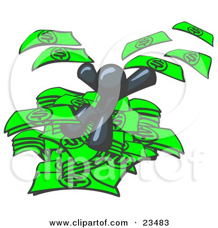 Clipart Illustration of a Navy Blue Business Man Jumping in a Pile of Money and Throwing Cash Into the Air by Leo Blanchette