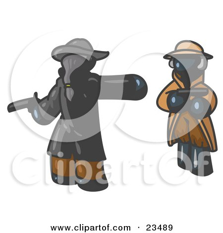 Clipart Illustration of a Navy Blue Man Challenging Another Navy Blue Man to a Duel With Pistils  by Leo Blanchette