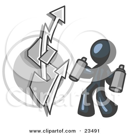 Clipart Illustration of a Navy Blue Business Man Spray Painting a Graffiti Dollar Sign on a Wall by Leo Blanchette