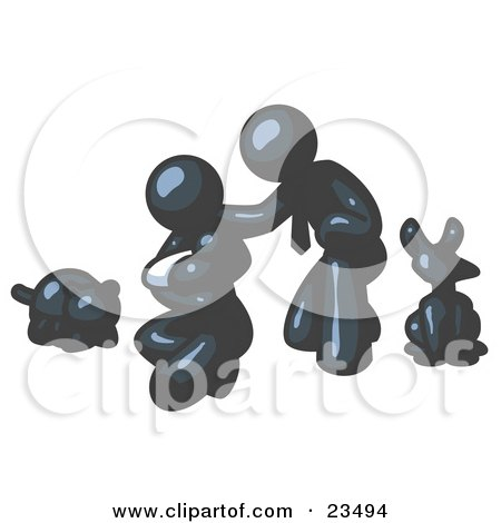 Clipart Illustration of a Navy Blue Family, Father, Mother And Newborn Baby With Their Dog And Cat by Leo Blanchette