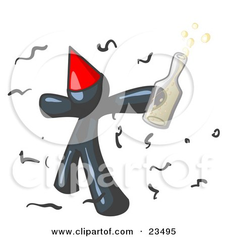Happy Navy Blue Man Partying With a Party Hat, Confetti and a Bottle of Liquor Posters, Art Prints