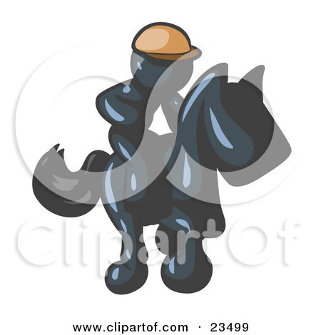 Clipart Illustration of a Navy Blue Man, A Jockey, Riding On A Race Horse And Racing In A Derby by Leo Blanchette