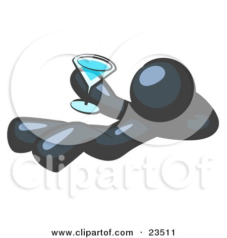 Clipart Illustration of a Navy Blue Man Kicking Back And Relaxing With A Martini Beverage by Leo Blanchette