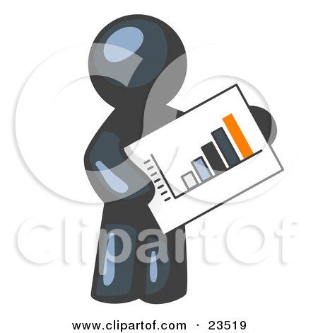 Clipart Illustration of a Navy Blue Man Holding A Bar Graph Displaying An Increase In Profit by Leo Blanchette