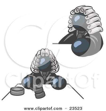 Clipart Illustration of a Navy Blue Judge Man Wearing a Wig in Court by Leo Blanchette