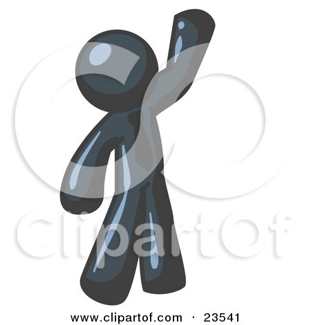 Clipart Illustration of a Friendly Navy Blue Man Greeting and Waving by Leo Blanchette