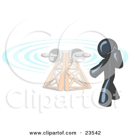 Clipart Illustration of a Navy Blue Businessman Talking on a Cell Phone, a Communications Tower in the Background by Leo Blanchette